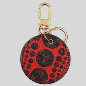 Preowned LV Monogram Red Leather Key Chain Charm